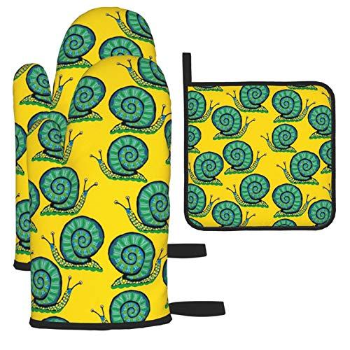 Yesliy Manopla de horno y soporte para ollas, juego de 3 piezas, caracol verde hombre en el sol resistente al calor guantes de cocina para cocinar hornear, asar a la parrilla