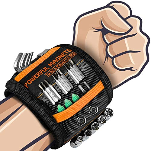 Magnetic Wristband Gifts for Dad - Gifts Tool for Men Magnetic Tool Wristband with 15 Powerful Magnets, Gadgets Gifts for Men Father Carpenter, Magnetic Wristband for Holding Nails Screws Drill ect