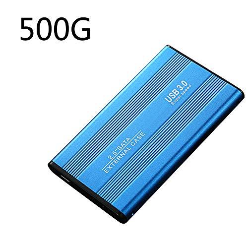 Disco duro externo portátil USB 3.0 de 2,5 pulgadas para PC, Mac, escritorio, portátil, 500 GB 1 TB 2 TB, unidad móvil ultradelgada (con bolsa de almacenamiento y cable de datos) Azul 500 GB