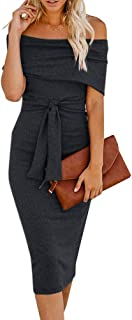 Womens Off The Shoulder Sweater Dresses Bodycon Striped Cocktail Party Pencil Dress with Belt
