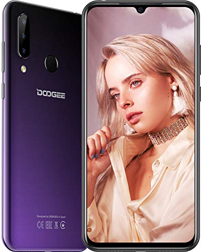 DOOGEE N20 (2019) Smartphone ohne Vertrag, P23 Octa-Core 4GB RAM 64GB ROM, 6,3 Zoll FHD + Waterdrop-Bildschirm, Android 9.0 4 G LTE, 16 MP + 8 MP + 8 MP + 16 MP, 4350 mAh, 10 W Schnellladung,Lila