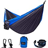 GEEZO Double Camping Hammock, Lightweight Portable Parachute (2 Tree Straps 16 LOOPS/10 FT Included) 500lbs Capacity Hammock for Backpacking, Camping, Travel, Beach, Garden