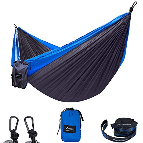GEEZO Double Camping Hammock, Lightweight Portable Parachute (2 Tree Straps 16 LOOPS/10 FT Included) 500lbs Capacity Hammock for Backpacking, Camping, Travel, Beach, Garden (Black/Blue)