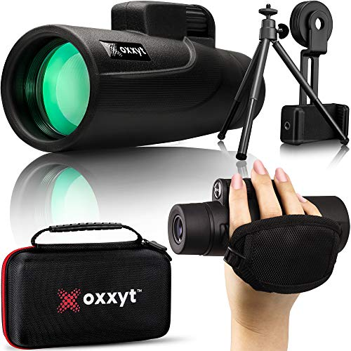 Oxxyt Monocular Telescope 12X50 with EVA Case, BAK4 Prism, FMC Lens, Perfect for Outdoor Bird Watching, Monocular Telescope for Smartphone with Phone Holder, Tripod, Monoculars for Adults High Powered