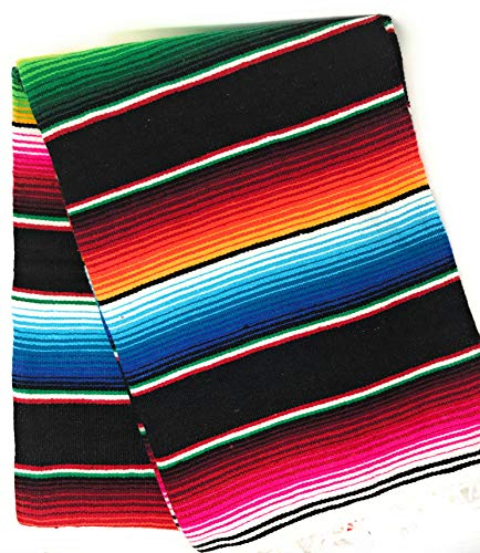 Mexitems Large Authentic Mexican Blanket Colorful Serape Blanket 7' X 5' (Pick Your Color) (Black)