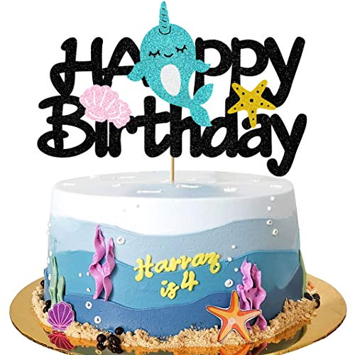 Glorymoment Cake Decor for Narwhal Cake Topper Birthday, Glitter Happy Birthday Cake Topper for Kids Girl Narwhal Theme Birthday, Starfish Under The Sea Birthday Party Decor Decoration (6.7''x4.33'')