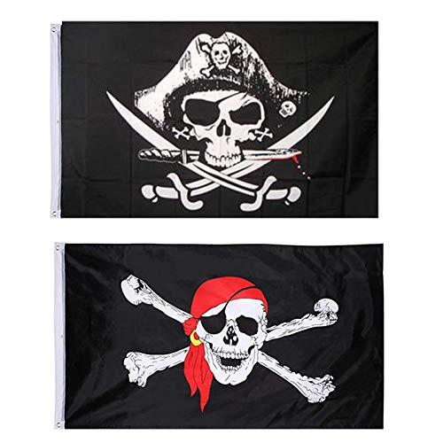 NININI 2 Piezas Bandera Pirata, Bandera del Cráneo, Bandera Pirata del Partido, Bandera Pirata Jolly Roger, para la Decoración de Halloween, Juego Pirata, Fiesta Pirata, Cosplay Pirata