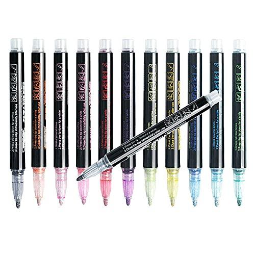 ATIN 12 colores de escritura de tarjetas de dibujo de doble línea de contorno de lápiz marcador marcador