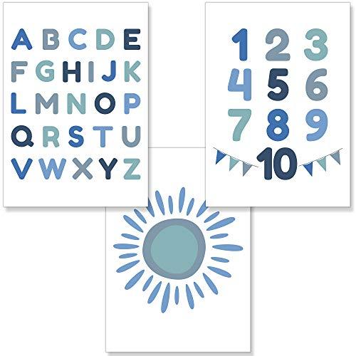 PREMYO Bilder Kinderzimmer Deko Jungen - Alphabet ABC Poster Set Babyzimmer - Wandbilder Schlafzimmer Sonne Blau A4