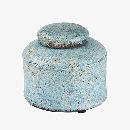 Better & Best Petit Pot en Terre Cuite Bleu Clair craquelé irrégulier 15 x 15 x 13 cm Taille Unique