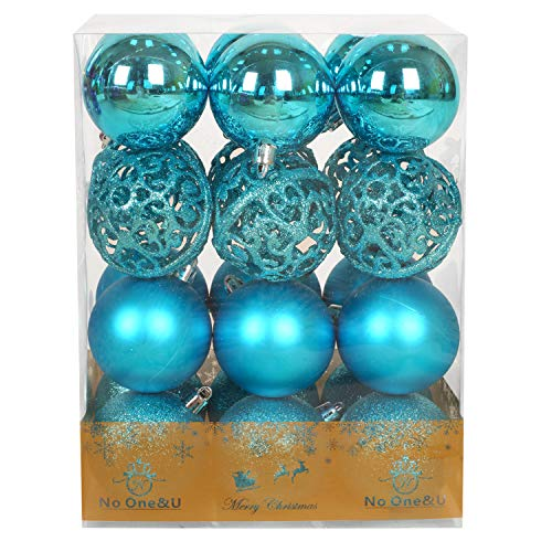 Christmas Balls Ornaments for Xmas Christmas Tree,Shatterproof Christmas Tree Decorations Hanging Ball Set for Holiday Wedding Party Decoration Blue 2.4Inch x 24 Pack
