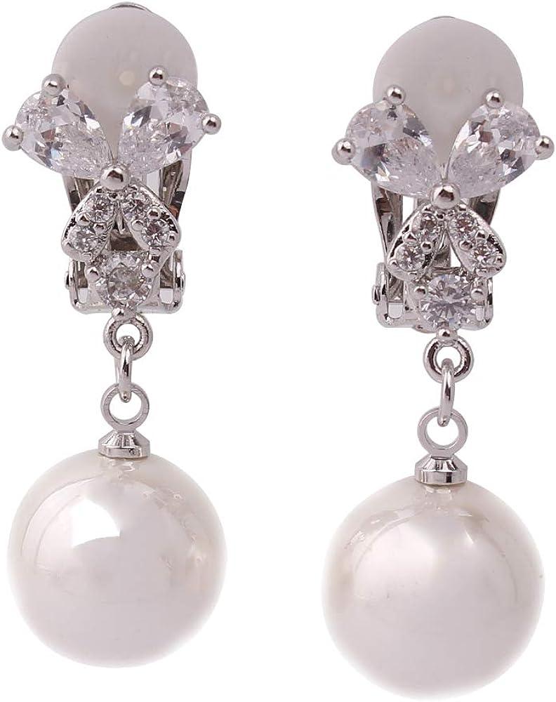 HAPPYAN Copper AAA Cubic Zircon Material Butterfly Shape Clip on Earrings No Pierced for Women Party Wedding Charm Jewelry Sensitive Ears Hypoallergenic