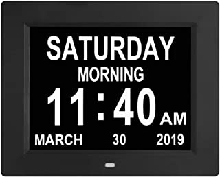 [Newest Version] 8 Inch Digital Calendar Alarm Day Clock - 8 Alarm Options Auto Dimmable,Extra Large Impaired Vision Digit...