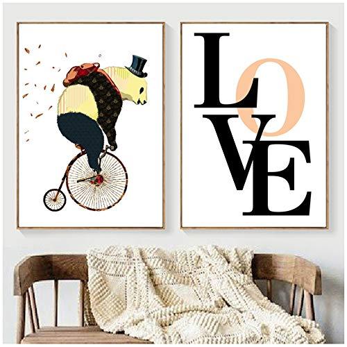 woplmh Quadro su Tela Ciclismo Orso Amore Wall Art Poster e Stampe nordici Immagini perpareti Camera dei Bambini Decorazioni murali-60x90cm (23,6'x35,4) x2 Senza Cornice