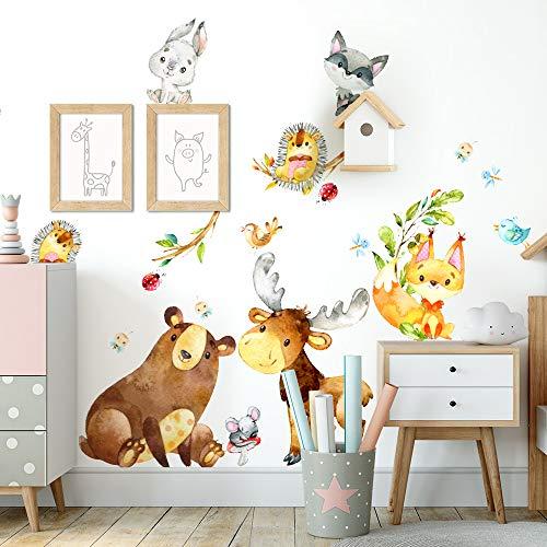 kina UVB00602 Adesivi Murali Decorazione Muro Cameretta Bambino Asilo Nido Camera Letto Orso Riccio Volpe Renna Procione Topolino