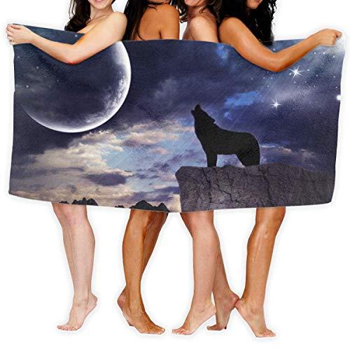 LOPEZ KENT Serviettes de Plage pour Femmes Hommes Blanket Howling Moon Space Wolf Bath Sheets Cute 100% Polyester Multipurpose Large Towel Cover for Yoga Mat Tent Floor 31.5' X 51.2'