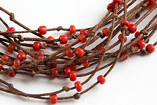 natural rope jewelry, Boho Necklace, Eco Friendly Necklace, Multi Strand Necklace, Polished Brown Hemp Orange Red, Bird Nest Fiber Handmade and Crafted by KapKaDesign