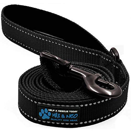 Max and Neo Small Dog Reflective Nylon Dog Leash - We Donate a Leash to a Dog Rescue for Every Leash Sold (Black, 6x5/8)