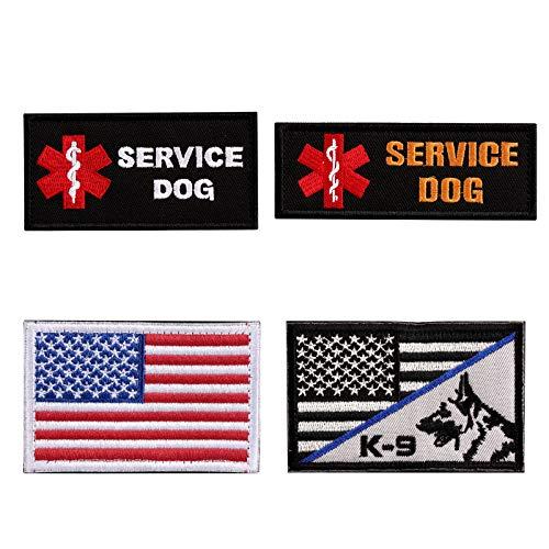 Vevins Chaleco de perro de servicio Petch – K9 en gancho de entrenamiento y etiqueta de bucle – parches de moral bordados para arnés de perro Tactiacl mochila