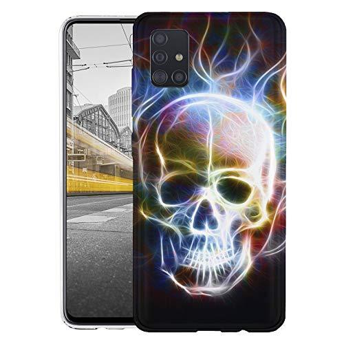 KX-Mobile Hülle für Samsung A51 Handyhülle Motiv 1361 Totenkopf Skull Abstract in Flammen Premium Silikonhülle SchutzHülle Softcase HandyCover Handyhülle für Samsung Galaxy A51 Hülle