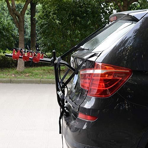 HOMCOM Fahrradheckträger für 3 Fahrräder Fahrradträger Heckträger faltbar mit Sicherheitsseile Metall + Kunststoff - 3