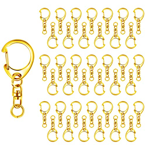 Roctee 50 Piece Key Ring with Chain, Gold D Snap Hook Split Metal Keychain Parts, DIY Crafts Key Ring Hardware with 8mm Open Jump Ring and Connector