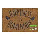 JVL Eco-Friendly Expression Latex Backed Coir Entrance Door Mat , Happiness Design