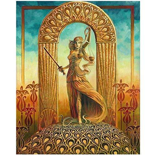 ASLKUYT Gerechtigkeit Tarot Art Poster Print Jugendstil Zigeuner Art Deco Pagan Mythologie Psychedelic Bohemian Gypsy Hexe Göttin Poster-50x70cm Kein Rahmen