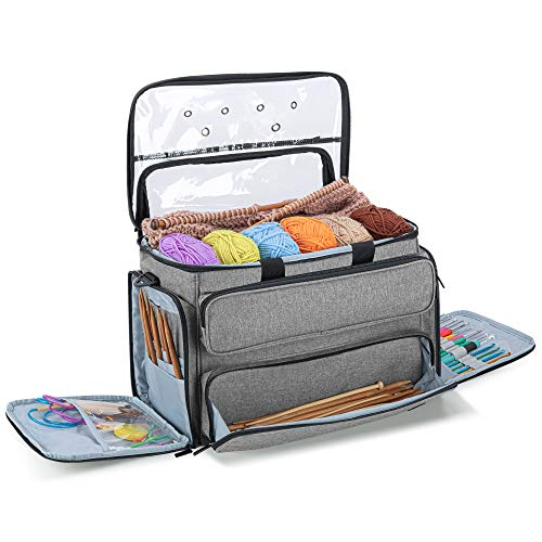 """YARWO Knitting Bag, Yarn Storage Organizer Tote for Knitting Needles(Up to 14""""), Crochet Hooks, Circular Needles, Projects and Skeins of Yarn, Gray (Bag Only)"""