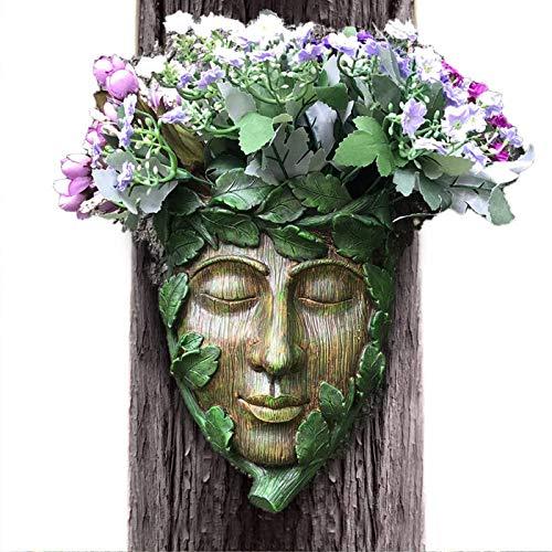 JUEJIDP Osterbaum Gesicht Garten Skulptur Wandtafel, bemalte Harz Green Man Baum Hugger Garten Dekoration, Verwendung im Freien Große Geschenkidee Blume Pflanzer Topf