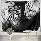 LB White Tiger Tapestry Wall Hanging Love Theme Couple Tigers Colesed Art Print Wild Animal Tapestry for Kids Bedroom Living Dining Room College Dorm Home Decor 60''Lx40''W,Black