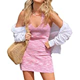 Sexy Halter Neck Bodycon Dress for Women Y2K Knitted Mini Dress V Neck Backless Beach Dress E Girl Streetwear (D-Pink, S)
