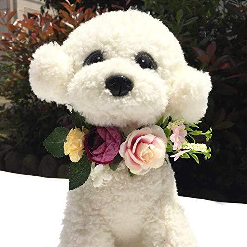 Winnfy Corona de Flores para Mascotas Tocado Floral para Perros Accesorios de Fotografía para Fiestas de Boda Guirnalda Floral Corona Floral