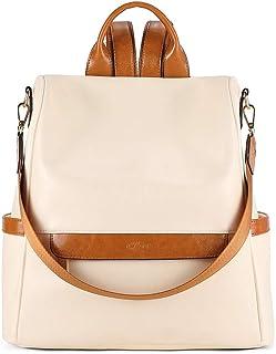 CLUCI Rucksack Damen Leder Mode Diebstahlsicherer Reiserucksack Schultertasche für Frauen 2 in 1 Ölwachs Beige mit Braun