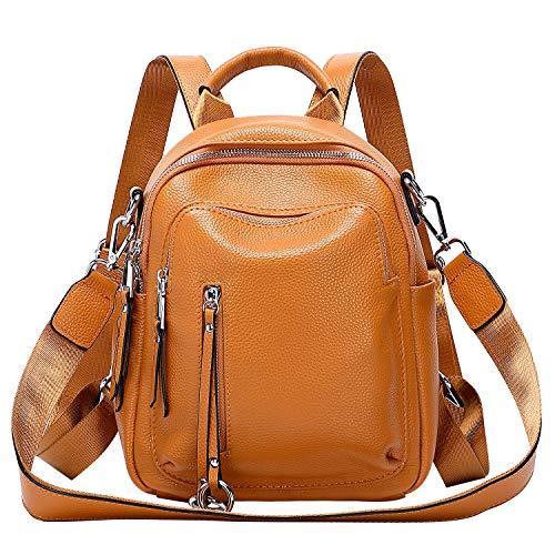 ALTOSY Kleiner Lederrucksack Damen Rucksack Echtleder Elegant Schultertasche Daypack 2 in 1 (S10, Orange)