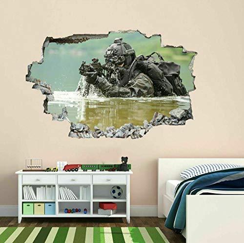 Tatuaje de pared en 3D agujero de la pared Sticker Pegatina Adhesivo Calcomanía Decoración para dormitorio o la sala de estar,Soldado del ejército 70x110cm