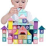Didart Handmade Montessori 61 Bloques de Madera Construcciones Juguetes Geometría. Educativos para Niños 1- 3 años. Hecho a Mano. Colores Pastel con tintas ecológicas