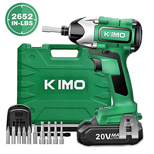 Impact Driver - 20V 2.0Ah Battery Brushless Cordless Impact Drill Kit w/ 2652in-lb 300NM Torque, 2800RPM Variable Speed, 6pc Driver Bits, 4pc Socket Bits, Power Tool Case, Lithium-Ion - KIMO