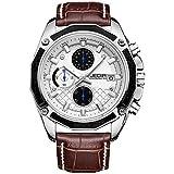 JEDIR Herren Chronograph Uhr weißes schwarz arabische Ziffern Sport Stil braun weichen Lederarmband