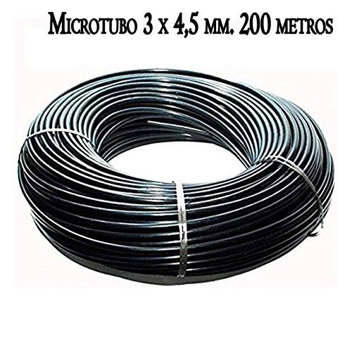 MICROTUBO Flexible 3 x 4,5 mm. Bobina 200 METROS. Tubo de color NEGRO. Tubería utilizada para riego por goteo. Tuberia de alta calidad fabricada en España