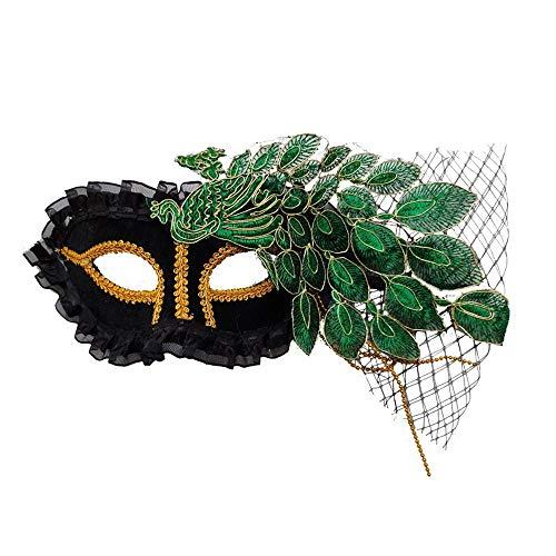 JASIN Maske Spitze, Phoenix-Farbspitze Maske Lady Pfau-Spitze-Kostüm-Partei Props Sexy Lace Mask,Grün