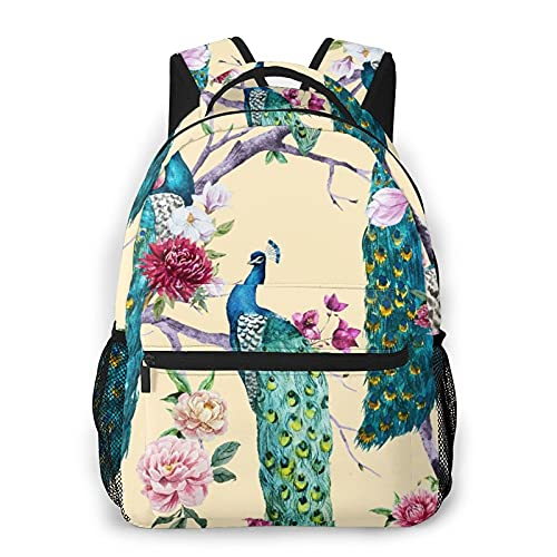 Backpack for Teens Men Women Storage Packet,Watercolor Peacock Sitting On A Tree With Pink Flower, Chrysanthemum Flower, Bougainvillea, White Magnolia, Peony,Casual School Bag Travel Laptop Daypack