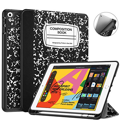 Fintie SlimShell Case for New iPad 7th Generation 10.2 Inch 2019 with Built-in Pencil Holder - Smart Stand Soft TPU Back Cover, Auto Wake/Sleep for iPad 10.2' Tablet, Composition Book Black