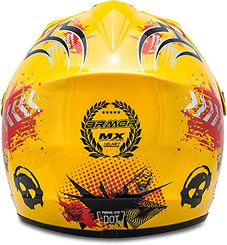 "ARMOR · AKC-49 ""Yellow"" (Gelb) · Kinder-Cross Helm · Enduro Kinder Off-Road Sport Motorrad Moto-Cross · DOT certified · Click-n-Secure™ Clip · Tragetasche · S (53-54cm) - 8"