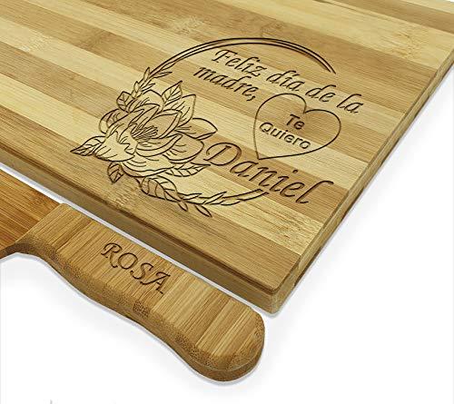 Set de Tabla de cortar cocina y Cuchillo PERSONALIZADA con el Nombre Que tú Quieras, Hecho de bambú 100% Natural juego de cocina regalos Día de la Madre, Padre, cumpleaños(GRANDE, DIA DE LA MADRE)