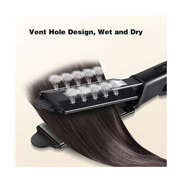 Plancha de pelo de hierro plano iónico de turmalina de cerámica, planeador