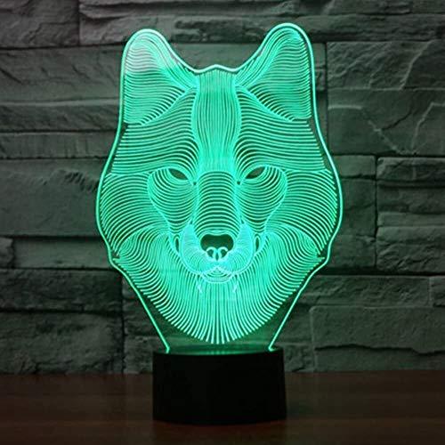 GXN Luz de Noche de ilusión 3D de 7 Colores, Lámparas de Mesa LED, Lámpara de Dormitorio con iluminación de Carga USB para niños Regalo de cumpleaños de Navidad (Color : Wolf, tamaño : Alarm Clock)