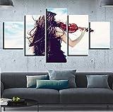 Pinturas en lienzo Decoración para el hogar Impresiones en HD Arte de la pared 5 Paneles que juegan El Violín Imágenes Sala de estar Cartel modular de trabajo 40x60x2 40x80x2 40x100cm