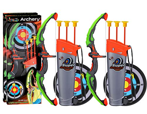 POKONBOY 2 Sets Archery Bow and Arrow for Kids, Kids Bow and Arrow Toy with Target and Quiver - LED Light Up Function Toy for Boys Girls Teens Indoor and Outdoor Garden Fun Game Birthday Carnival