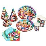Oddbods Juego de suministros y decoraciones para fiestas de cumpleaños con platos, tazas, sombreros y servilletas (80 piezas)